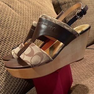 Coach Signature C Jacquard/Leather Wedge Sandals